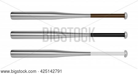 Aluminum Baseball Bat In The Vector Side View.baseball Bat For Playing Baseball Vector Illustration.