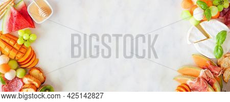 Summer Fruit Theme Charcuterie Double Border Against A White Marble Background. Variety Of Fruits, C