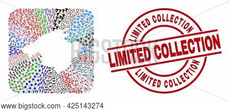 Vector Collage Majorca Map Of Different Symbols And Limited Collection Stamp. Collage Majorca Map De