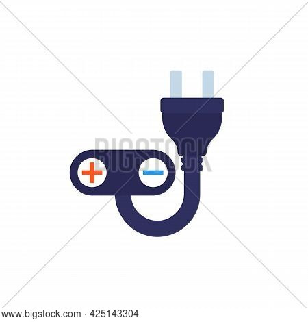 Electric Plug And Plus, Minus Signs, Vector Icon