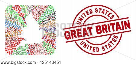 Vector Mosaic England Map Of Different Icons And United States Great Britain Seal Stamp. Mosaic Engl