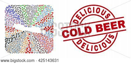Vector Collage Java Island Map Of Different Pictograms And Delicious Cold Beer Stamp. Collage Java I