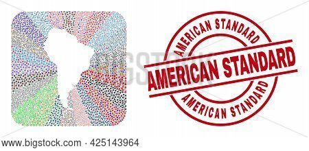 Vector Collage South America Map Of Different Symbols And American Standard Stamp. Collage South Ame