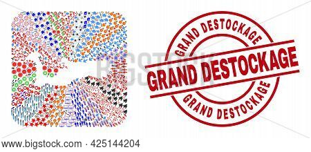 Vector Collage Grand Cayman Island Map Of Different Symbols And Grand Destockage Stamp. Collage Gran