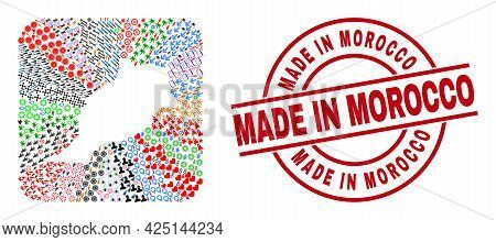Vector Collage Morocco Map Of Different Pictograms And Made In Morocco Stamp. Collage Morocco Map Cr