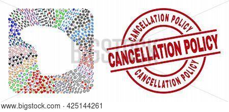 Vector Mosaic Lanai Island Map Of Different Symbols And Cancellation Policy Seal. Mosaic Lanai Islan