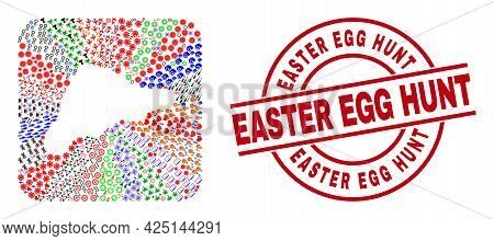 Vector Mosaic Easter Island Map Of Different Symbols And Easter Egg Hunt Seal Stamp. Mosaic Easter I