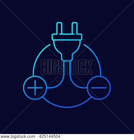 Electric Plug And Plus, Minus Signs Line Icon