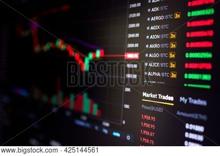 Stock Exchange, Cryptocurrency Price Chart On A Screen. Candlestick Chart, Btc. Online Currency Exch
