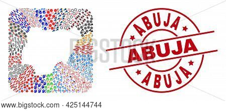 Vector Mosaic Nigeria Map Of Different Symbols And Abuja Seal Stamp. Mosaic Nigeria Map Designed As