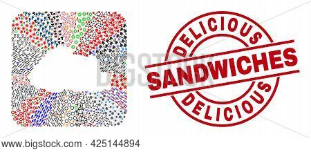 Vector Collage Bhutan Map Of Different Symbols And Delicious Sandwiches Stamp. Collage Bhutan Map De