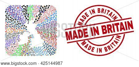 Vector Mosaic Great Britain And Ireland Map Of Different Pictograms And Made In Britain Seal. Mosaic