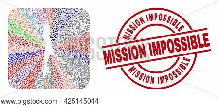 Vector Mosaic Sakhalin Island Map Of Different Symbols And Mission Impossible Seal. Mosaic Sakhalin