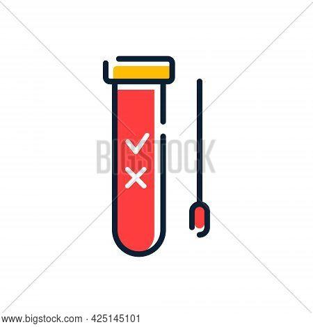 Covid Pcr Test Vector Line Icon. Corona Virus Covid19 Tube Test Medical Laboratory