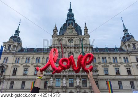 Love Sign And Beautiful Town Hall Building Rathaus At Main Square Hauptplatz In Graz, Styria Region,
