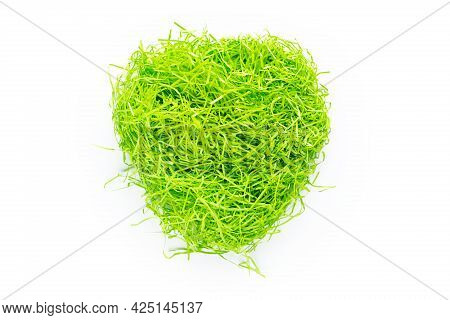 Shredded Green Paper Packing Material. Copy Space. Light Green Spaghetti Shredded Packing Paper. Pre