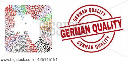 Vector Collage Lower Saxony Land Map Of Different Symbols And German Quality Seal. Collage Lower Sax