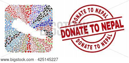 Vector Mosaic Nepal Map Of Different Icons And Donate To Nepal Badge. Mosaic Nepal Map Designed As S