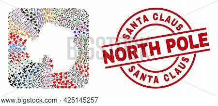 Vector Collage Antarctica Continent Map Of Different Symbols And Santa Claus North Pole Badge. Colla