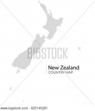 Vector New Zealand Map Shape Icon. New Zealand Country Grey Simple Map