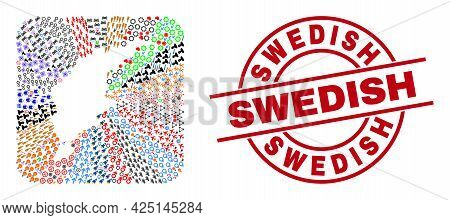 Vector Collage Gotland Island Map Of Different Pictograms And Swedish Badge. Collage Gotland Island