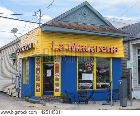 New Orleans, La - June 23: La Macarena Pupuseria And Latin Cafe On Hampson Street On June 23, 2021 I