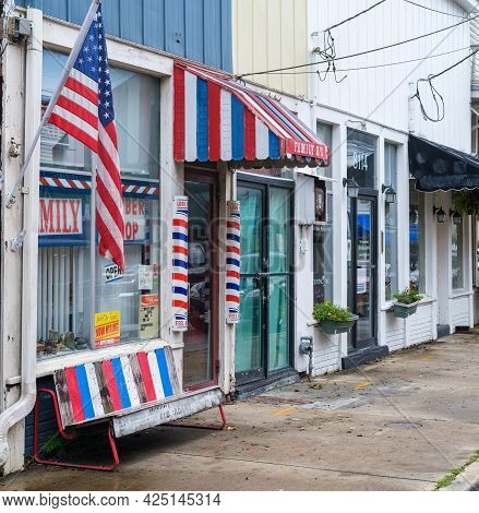 New Orleans, La - June 23: Red, White And Blue Themed Family Barber Shop In Uptown Neighborhood On J