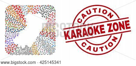 Vector Collage Castellon Province Map Of Different Symbols And Caution Karaoke Zone Seal Stamp. Coll