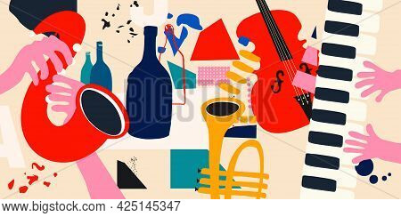 Music Promotional Poster With Musical Instruments Colorful Vector Illustration. Violoncello, Piano,