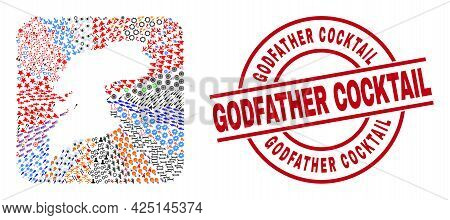 Vector Mosaic Pontevedra Province Map Of Different Pictograms And Godfather Cocktail Seal. Collage P