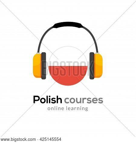 Polish Language Learning Logo Icon With Headphones. Creative Polish Class Fluent Concept Speak Test