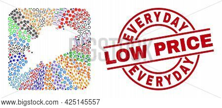 Vector Mosaic Odisha State Map Of Different Icons And Everyday Low Price Badge. Mosaic Odisha State
