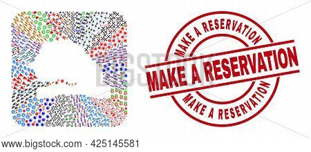 Vector Collage Senegal Map Of Different Pictograms And Make A Reservation Seal Stamp. Collage Senega