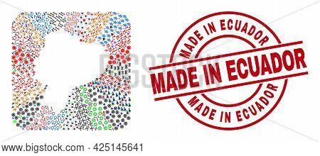 Vector Mosaic Ecuador Map Of Different Symbols And Made In Ecuador Stamp. Mosaic Ecuador Map Constru