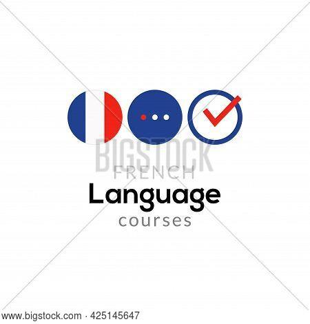 French Language School Logo Course Concept. Vector French Speak Fluent Course Design
