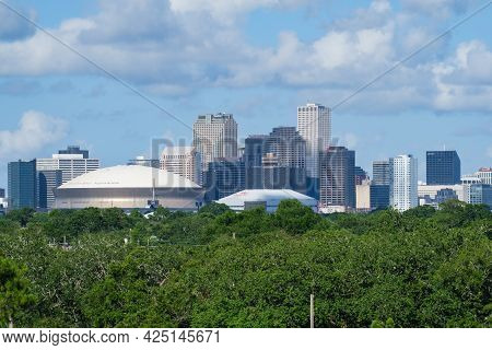 New Orleans, La - June 26: New Orleans Skyline From The Treetops Southwest Of The City On June 26, 2