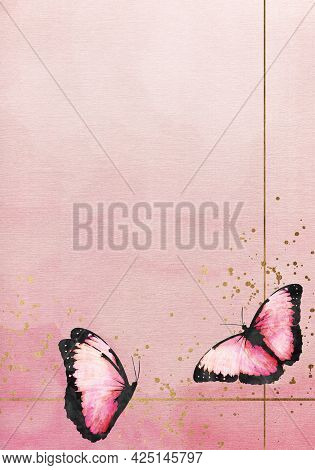 Abstract Pink Watercolor Background With Butterflies For Invitations, Cards, Posters. Texture, Abstr