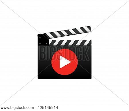Video Tutorial Lesson Flat Icon. Watch Video Tutorial Training Media Online Icon
