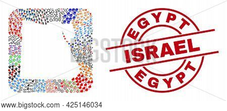 Vector Collage Egypt Map Of Different Icons And Egypt Israel Seal Stamp. Collage Egypt Map Construct