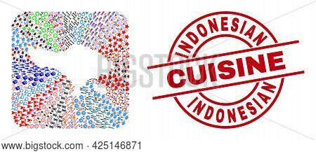 Vector Mosaic Bali Map Of Different Icons And Indonesian Cuisine Seal Stamp. Mosaic Bali Map Constru