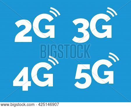 5g Icon, 4g Logo On Blue. 2g Network Vector Technology 3g Icon