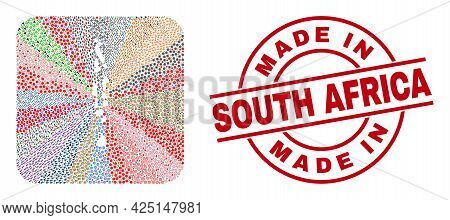Vector Collage Maldives Map Of Different Symbols And Made In South Africa Seal. Collage Maldives Map