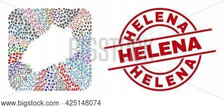 Vector Collage Saint Helena Island Map Of Different Icons And Helena Badge. Collage Saint Helena Isl