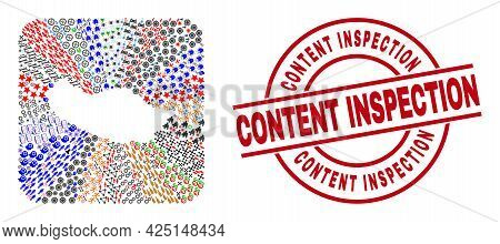 Vector Collage Madeira Map Of Different Symbols And Content Inspection Stamp. Collage Madeira Map Co