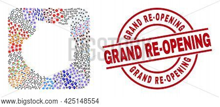 Vector Collage Gran Canaria Map Of Different Symbols And Grand Re-opening Badge. Mosaic Gran Canaria