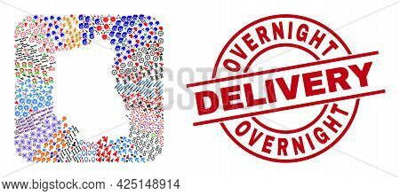 Vector Collage Lublin Voivodeship Map Of Different Symbols And Overnight Delivery Seal. Collage Lubl