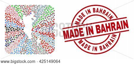 Vector Collage Bahrain Map Of Different Icons And Made In Bahrain Stamp. Collage Bahrain Map Designe