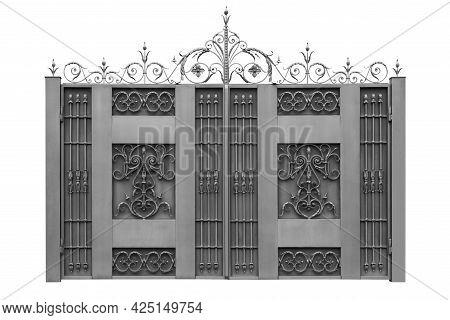 Elegance Forged Gates. Isolated On White Background.