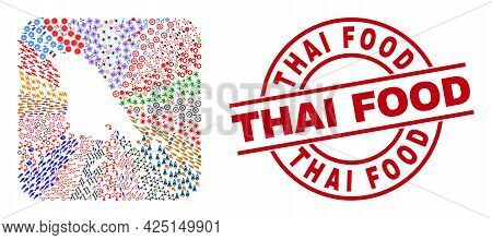 Vector Collage Koh Chang Map Of Different Pictograms And Thai Food Seal Stamp. Collage Koh Chang Map