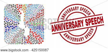 Vector Collage Malawi Map Of Different Symbols And Anniversary Speech Stamp. Collage Malawi Map Desi
